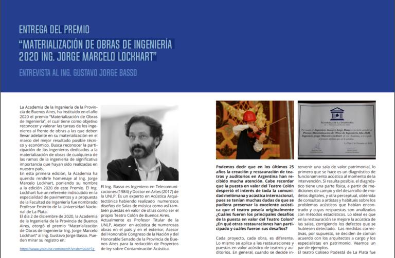 """Lee más sobre el artículo Entrega del Premio """"Materialización de Obras de Ingeniería 2020 Ing. Jorge Marcelo Lockhart"""""""