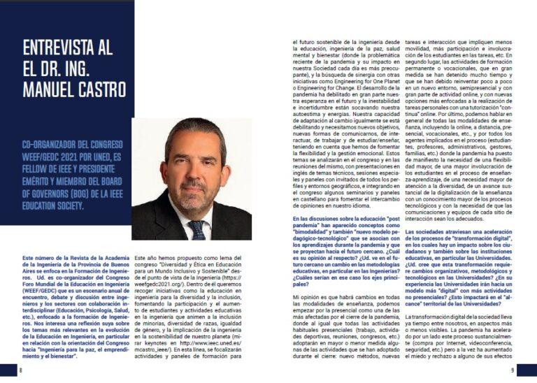 Lee más sobre el artículo Entrevista al Dr. Ing. Manuel Castro