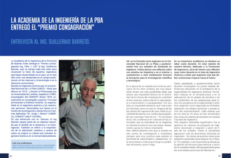 Lee más sobre el artículo Premio Consagración   Entrevista al Ing. Guillermo Barreto